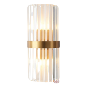 Бра odeon clear glass gold metal wall lamp